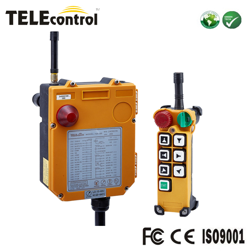 Telecontrol 6 channel Dual speed pushbuttons wireless industrial EOT crane remote Control with transmitter receiver F24-6D