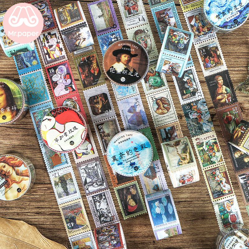 Mr Paper 8 Designs Creative Retro Style Bullet Journaling Stamp Washi Tapes Scrapbooking Deco Sticker Masking Tapes Easy To Tear