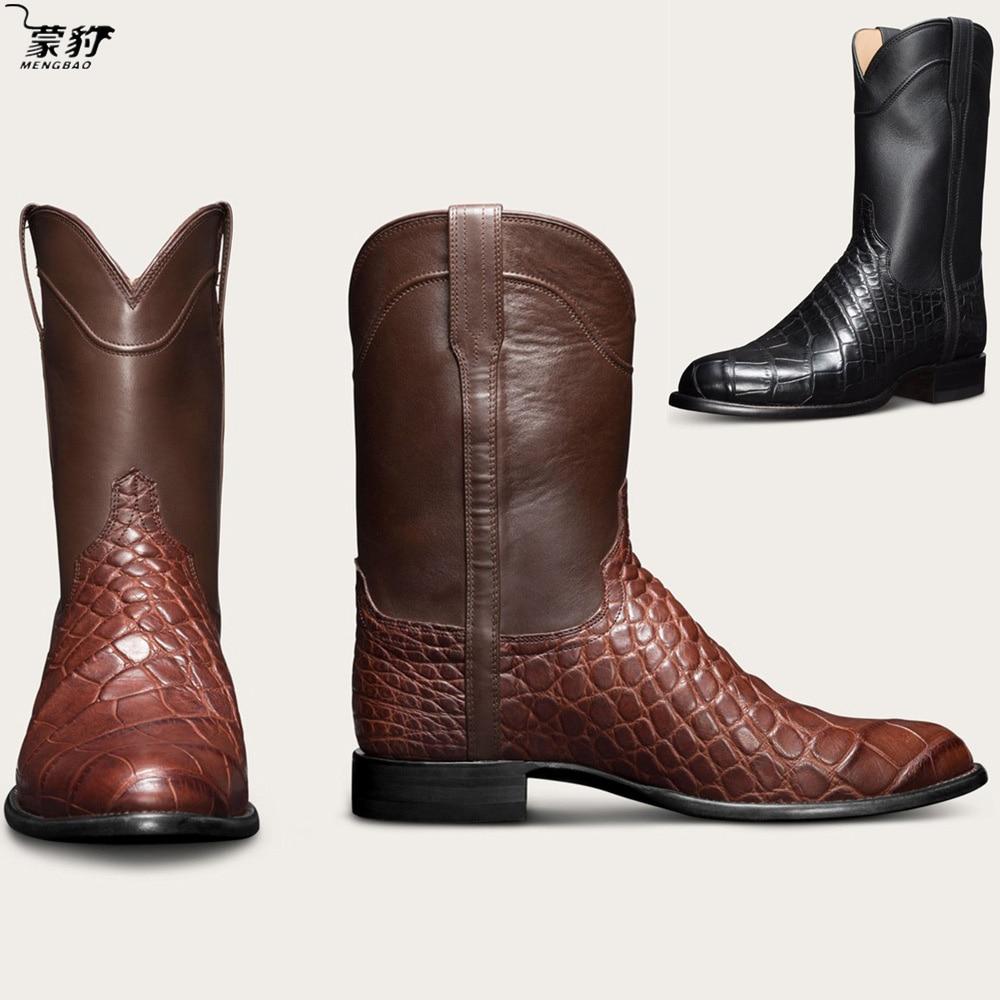 Сапоги казаки Ror мужские полусапоги; Мужская повседневная обувь; Мужская Уличная кожаные ковбойские сапоги Мужская обувь, визуально увеличивающая рост; Большого размера