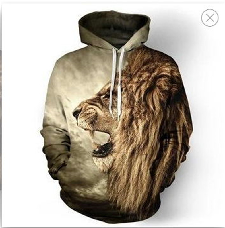 Cool Boy Fashion Print Casual Sports Hoodie Golden Hair Lion Roar 3D Fun Print Thin Long Sleeve Hoodie