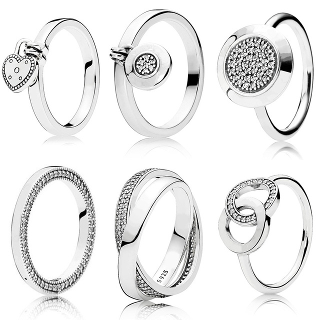 6 Style Women Silver Color Rings Jewelry Logo Signature With Crystal Pan Heart Pendant Ring For Women Jewelry 1