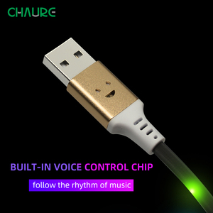 Image 3 - CHAURE Magnetic charging USB Cable Type C Flow Luminous Data Wire Micro USB for iphoneX voice control LED USB Cable