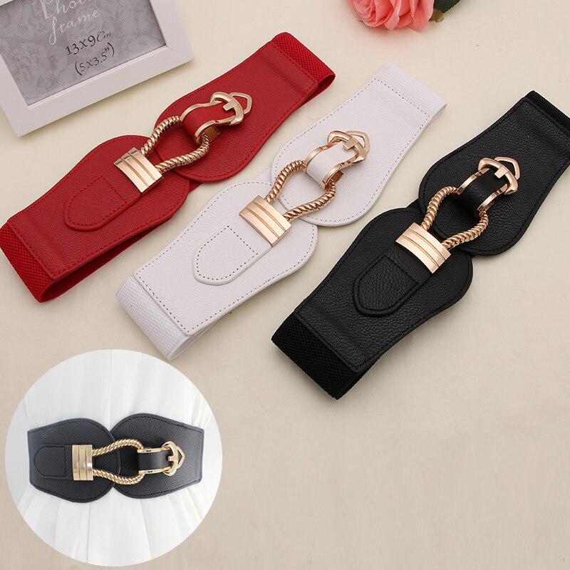 Fashion Wide Waistbands Women Elastic Waist Belt for Dress Sweater Pin buckle Leather Belts Girls Cummerbunds Stretchy belt|Women