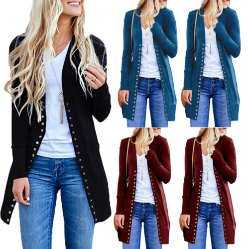 Women Sweater Long Sleeve Button Knit Cardigan Tops Casual Loose Jacket Coat Outwear Spring Autumn
