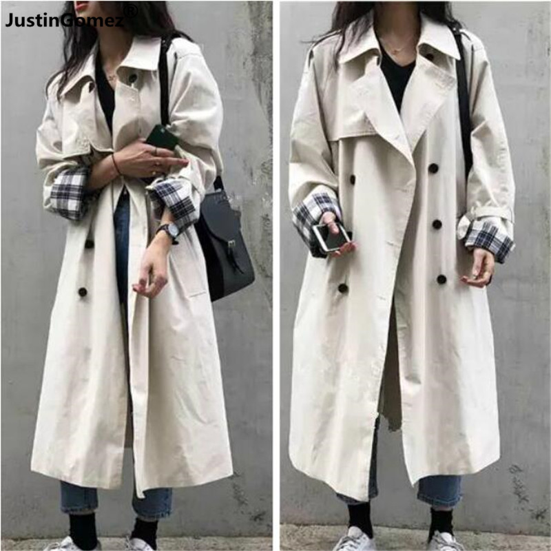 Fashion plaid print Fall Winter long Coats outerwear Classic double-breasted mId-long   trench   overcoats manteau femme