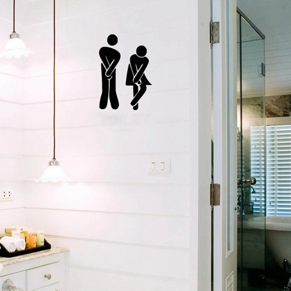 2Pcs Funny Toilet Entrance Sign Decal Vinyl Sticker For Shop Office Home Cafe Hotel Decor  Hot Search