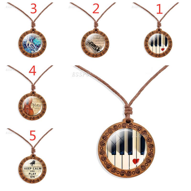 Wooden Necklace Piano Glass Vintage Necklace, Music Rope Pendant, Musical Instruments Jewelry Party