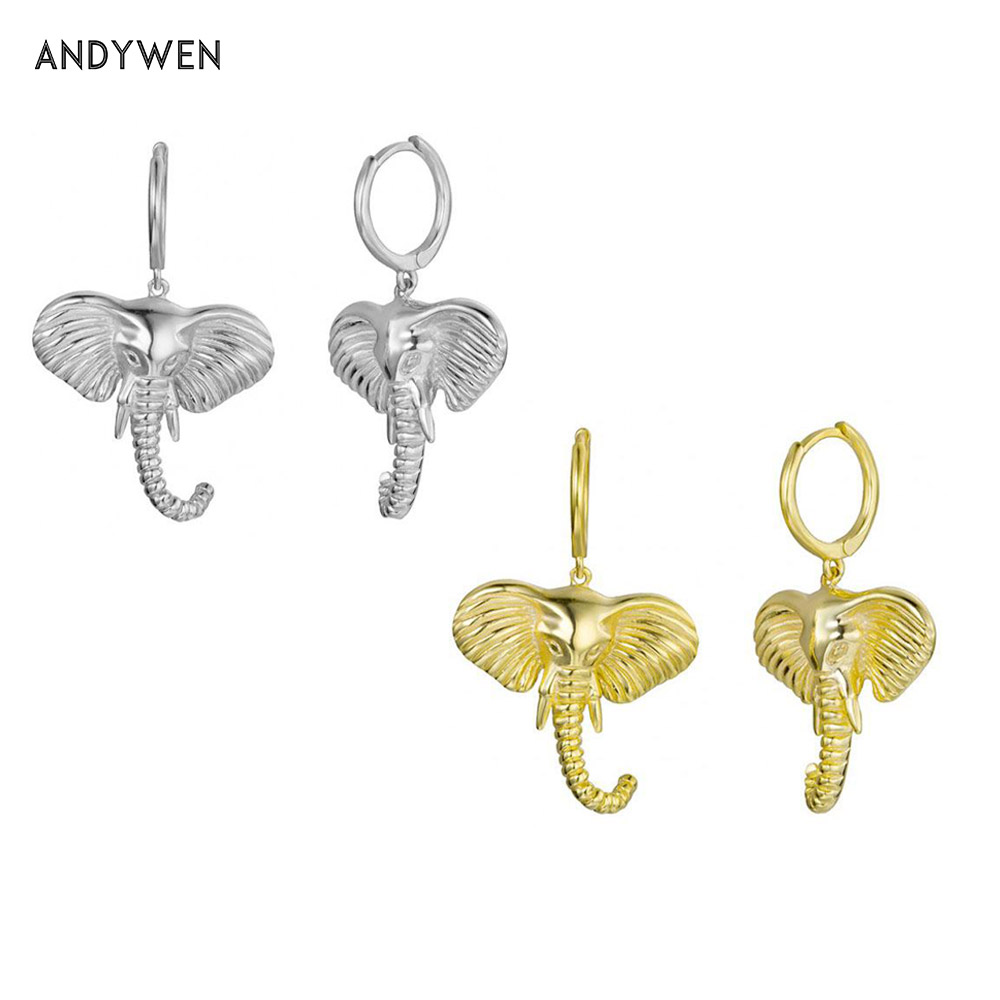 ANDYWEN 925 Sterling Silver Elephant Charm Drop Earrings Big Charms Loops Ring Rock Punk Special Jewelry for 2020 Women Wedding