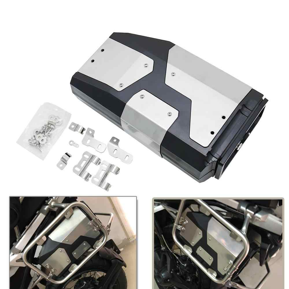 LKV Motorcycle Tool Box Left Side Bracket with Stainless Steel Case Compatible with BMW R1200GS R1250GS LC Adventure F750 F850
