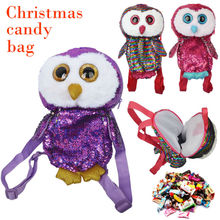 The Newest Children Candy Storage Bag Laser Owl Backpack Christmas Santa Claus Gift