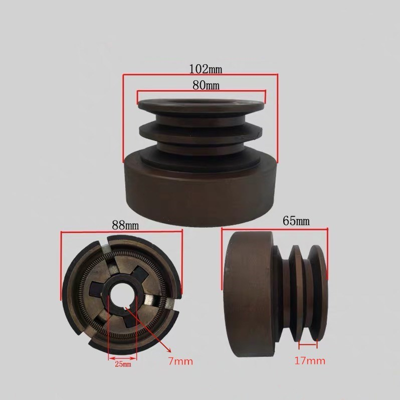 (Flat Key)Double Groove Belt Clutch Fits For 188F/190F/GX390/GX420 Engine With 25mm Shaft Output Used For Water Pump/cutter
