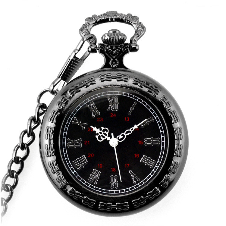 Pocket Watch Steampunk Skeleton Classic Ancient Memorial Clock Big Roman Carved for Mens Pocket & Fob Watches Chain