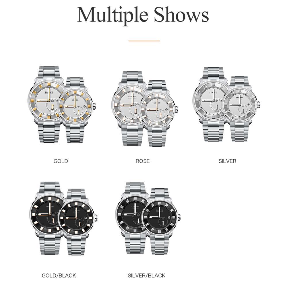 Automático à Prova Suíça Japão Miyota Casal Relógio Dwaterproof Água Mulher Relógios Luminosos Mãos Zegarek Meski Safira Amante Relojes