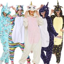 Nowy Kigurumi jednorożec piżamy dorosłych zima piżamy zwierząt Stitch Panda Pikachu piżamy kobiety Onesie Anime kostiumy kombinezon tanie tanio YSOYOK Poliester Unisex Koc podkładów Pasuje prawda na wymiar weź swój normalny rozmiar Flanelowe S M L XL Cartoon