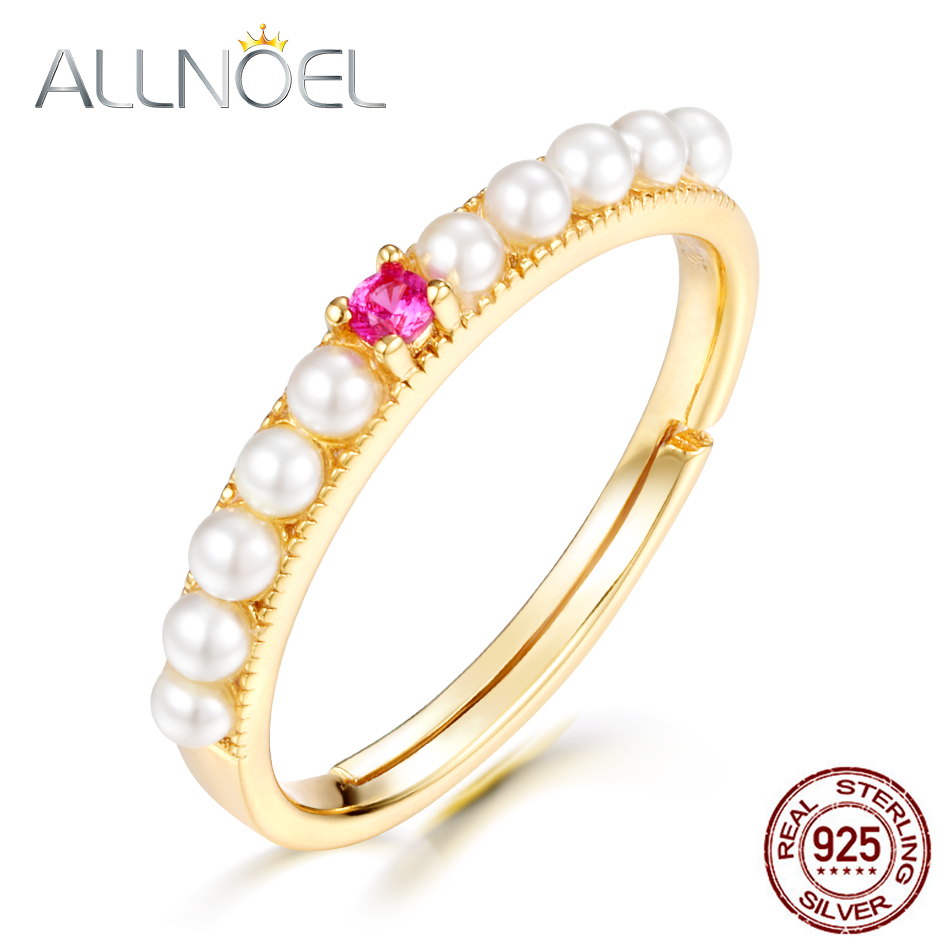 ALLNOEL 925 Sterling Silver Pearl Rings Red Corundum Gemstone 9K Gold Plated  Vintage Designer Luxury Fine Jewelry For Women