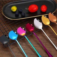 Stainless Steel Coffee & Tea Spoon With Long Handle Kitchen Colourful Coffee Scoops Mixing spoons Ice Cream Dessert Tea Spoon 6pcs lot stainless steel coffee spoons creative ice cream dessert long handle tea spoon tableware kitchen tool 7 colors