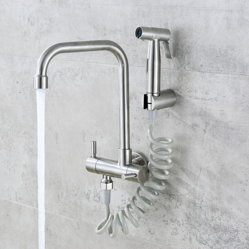 Stainless Steel Kitchen Faucet Double Handle Wall Mounted Sink Tap Cold Water Tap With Handheld Sprayer Bidet Nozzle For Balcony