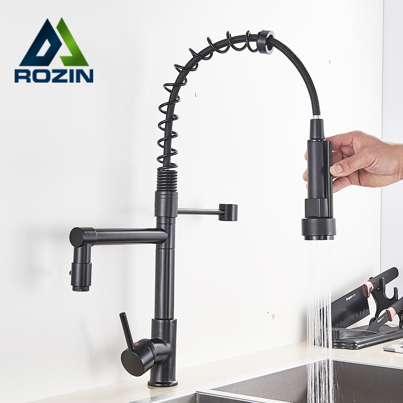 Rozin Black Kitchen Faucets Pull Down Kitchen Sink Faucet Deck Mounted Dual Swivel Spout Kitchen Crane Chrome Hot Cold Mixer Tap