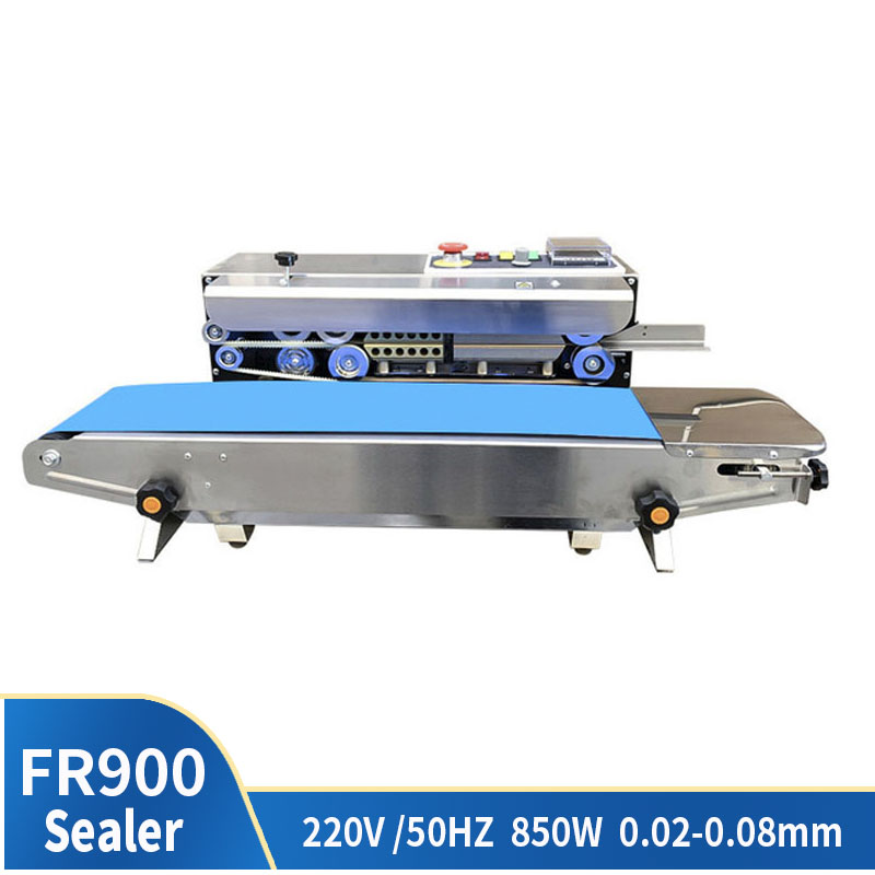 FR-900 Food Bag Continuous Sealing Machine Automatic Plastic Film Packaging Machine Auxiliary Equipment Printing Machine Date