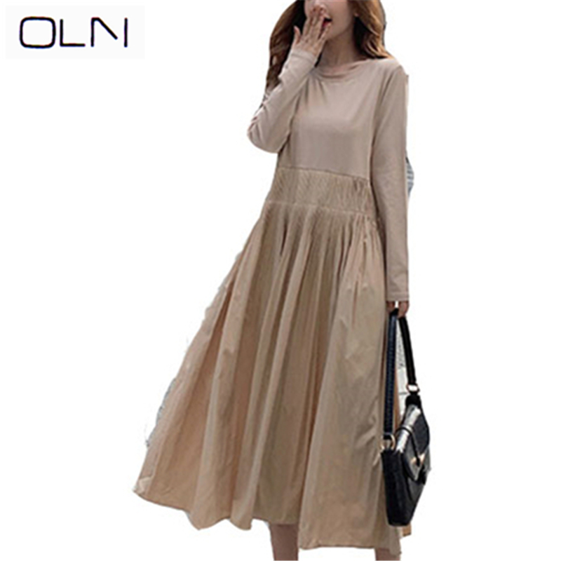 Autumn Winter dress OLN Korean vestidos new arrival wholesale Dress new fashion ins long sleeve long dress female
