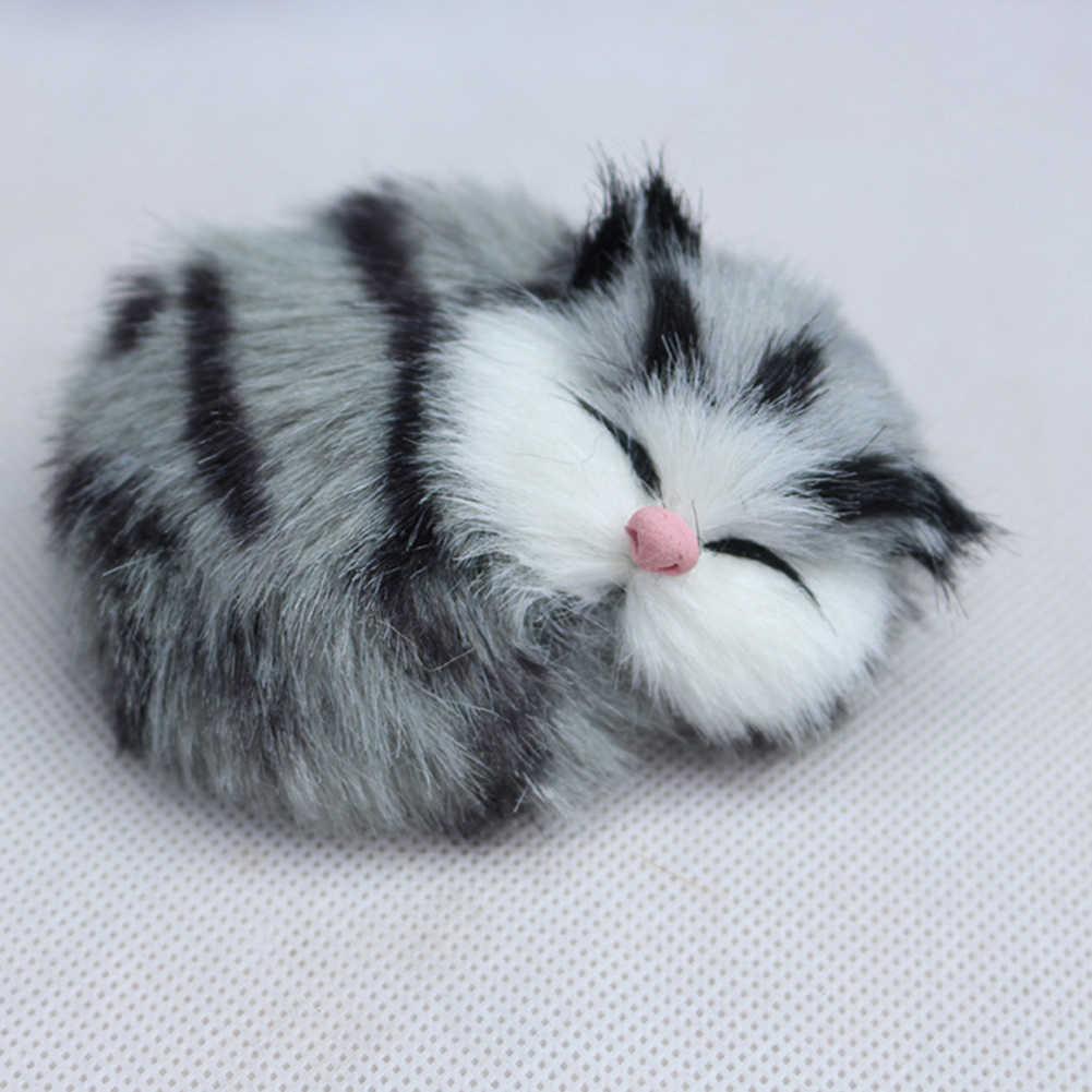 חמוד סימולציה חתול חתלתול קול בפלאש בובת צעצוע צלמית מיניאטורות עם תליית סל שולחן עבודה קישוט צלמית בית תפאורה מתנה