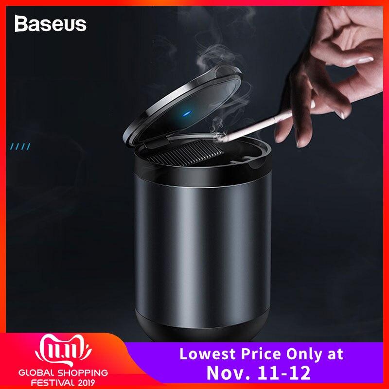 Baseus Premium Car Ashtray High Flame Retardant LED Light Auto Ashtray For Car Truck Easy Clean Fit Most Cup Smokeless Ashtray