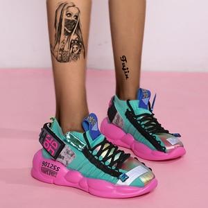 Image 4 - Fujin Womens Sneaker Knitting Breathable Shoe Chunky Platform Sneakers Soft 2020 Spring Summer Sock Women Vulcanized Shoes
