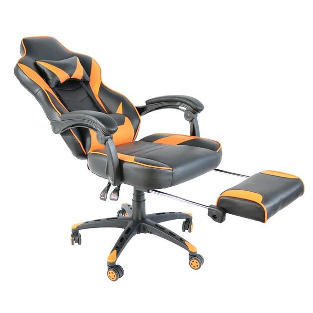 Фото складной нейлоновый гоночный стул с подставкой для ног черный
