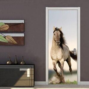 Póster de caballo en 3D, pegatinas para puerta y sala de estudio, autoadhesivo de PVC extraíble, pegatina para Mural, pegatina impermeable para decoración de dormitorio