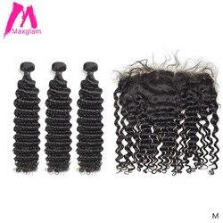 Extensión de cabello humano de onda profunda 3 4 mechones con frontal 30 40 pulgadas color natural brasileño tejido remy para mujeres negras encaje hd