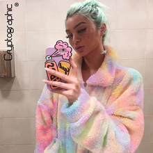 Cryptographic Tie Dye Zipper Fashion Outwear Autumn Winter Women Fur Coats and Jackets Loose Tops Casual Streetwear Oversized