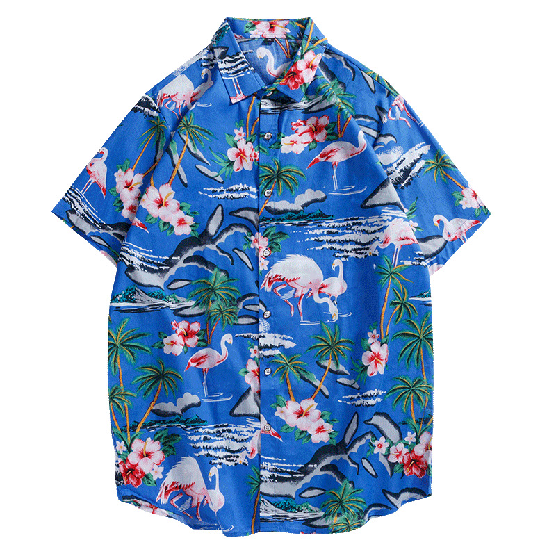 New Style Printed Short Sleeved Shirt Men's Casual Plus-sized Loose-Fit Beach Hawaii Men'S Wear Shirt