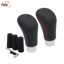 YOLU Car Gear Shift Knob Shifter Lever Auto Manual Automatic Transmission Knobs Aluminum + Leather