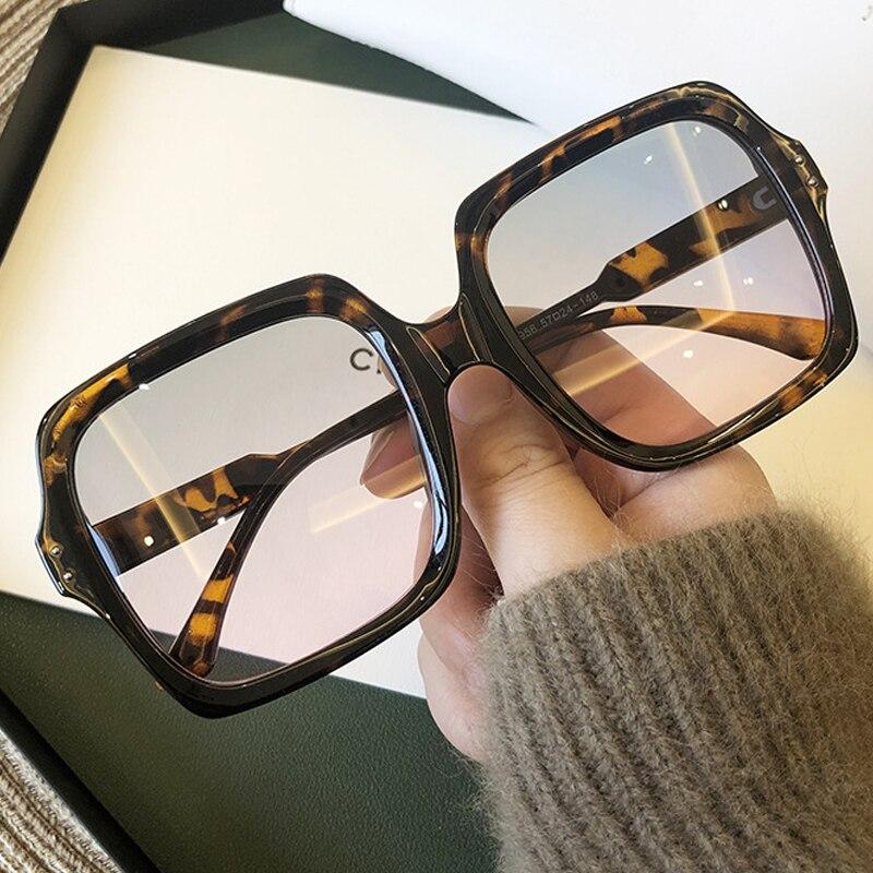 Oversize Square Sunglasses For Women 2020 Fashion Vintage Black Brown Sun Glasses Men Retro Rivet Eyewear Female Gradient Shades