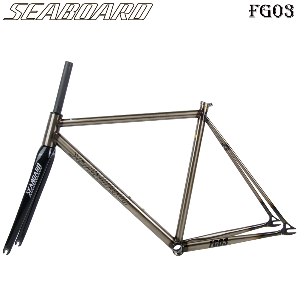 Seaboard FG03 Super Bicycle Frame CR-MO Steel Frame  12K Carbon Fork Fixie Racing Bike 52cm Steel Frame Carbon Fork