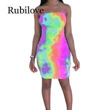 Rubilove Colorful Tie Dye Sexy Bodycon Dress Women Fashion Off Shoulder Backless Party Dress  Summer Strapless Sleeveless Mini S tie dye sleeveless a line mini dress