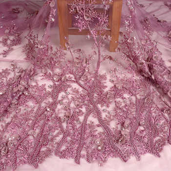GOOD NEWS Restock some yards La Belleza dirty pink handmade beading crystal 3D flowers evening dress lace fabric 1 yard - DISCOUNT ITEM  0% OFF All Category