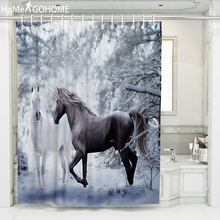 купить Snow Landscape Unicorn Shower Curtain 3D Scenic Bathtub Decoration Bathroom Curtain Waterproof Fabric Bath Curtain with Hooks по цене 659.32 рублей