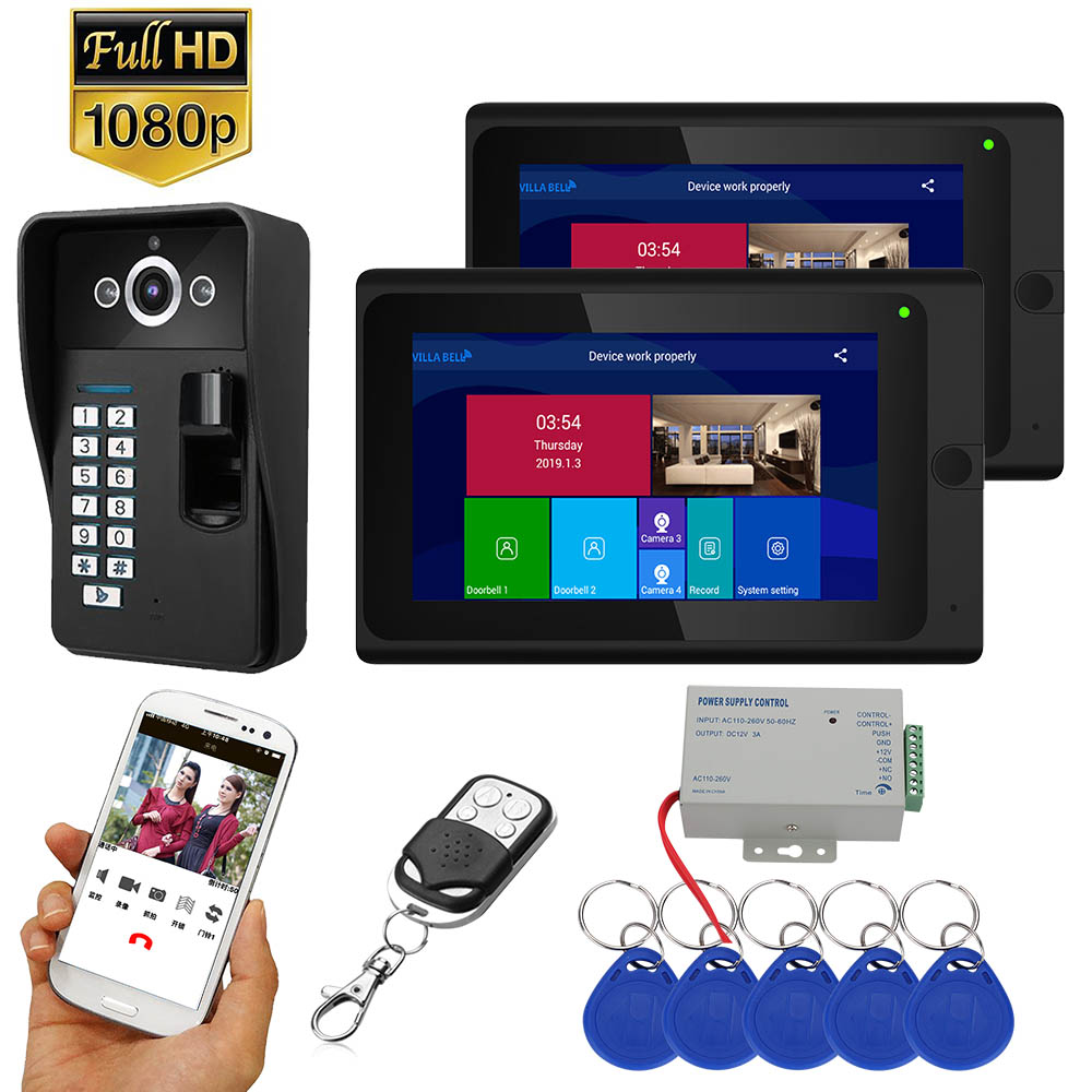7 Inch  2 Monitors  Wifi Wireless Fingerprint RFID   Video Door Phone Doorbell Intercom System With Wired AHD 1080P   Camera