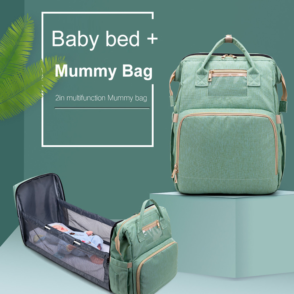 #H40 2 in 1 Multifunctional Travel Mommy Backpack Portable Crib Nappy Bag Large Capacity Hiking Camping Women Men Outdoor Bags