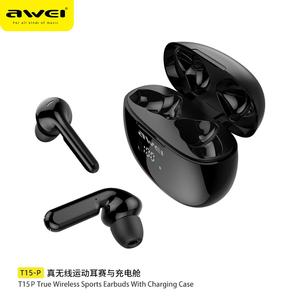 AWEI wyświetlacz LED słuchawki z Bluetooth radio HiFi dźwięku przestrzennego bezprzewodowe słuchawki douszne słuchawki do gier TWS redukcja szumów słuchawki