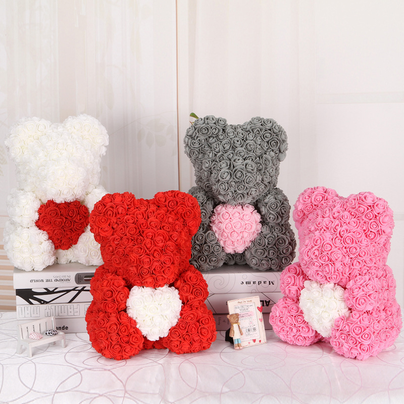 DropShipping 40cm Rose Bear Heart  Artificial Flower Rose Teddy Bear For Women Valentine's Wedding Birthday Christmas Gift-in Artificial & Dried Flowers from Home & Garden