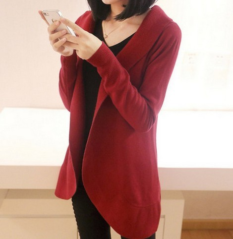 2020 New Ladies Long Sleeve Knit Sweater Casual Solid Color Cardigan