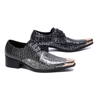Checkerboard Grain Genuine Leather Shoes Stylish Pointed Toe Mens Dress Shoes Lace Up Chunky Heel Party Wedding Shoes Size 47