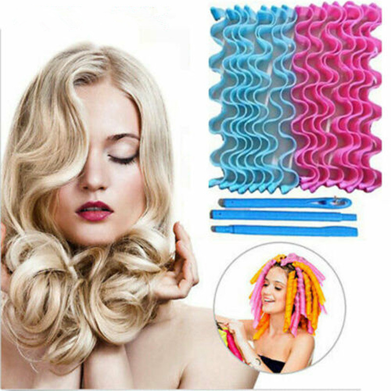 24pcs Brand New Style Water Wave Magic Curlers Formers Leverage Spiral Magic Hair Care DIY Hair Styling Tools 25/30/45/55cm