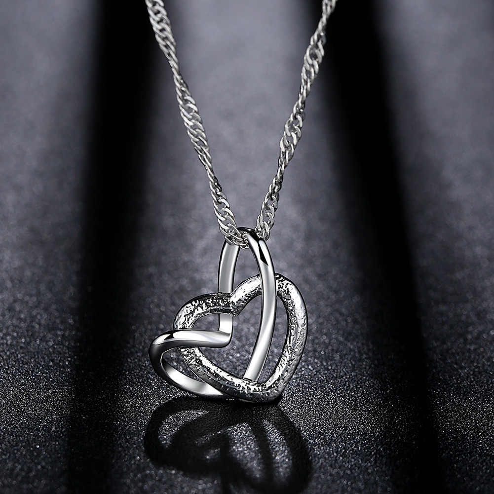 ZHOUYANG Necklace For Women Elegant Lady Heart Pendant Frosted Silver Color Collarbone Choker Fashion Jewerly KAN090