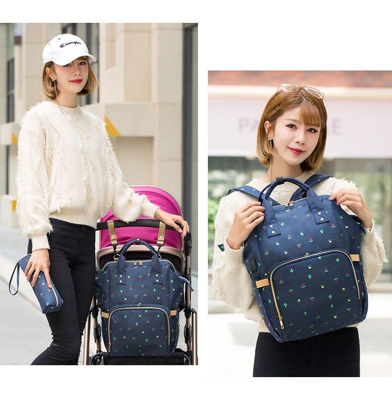 Hde47d79f53c6465da0f5207fcf9615bbg Fashion Mummy Maternity Nappy Bag Waterproof Diaper Bag With USB Stroller Travel Backpack Multi-pocket Nursing Bag for Baby Care