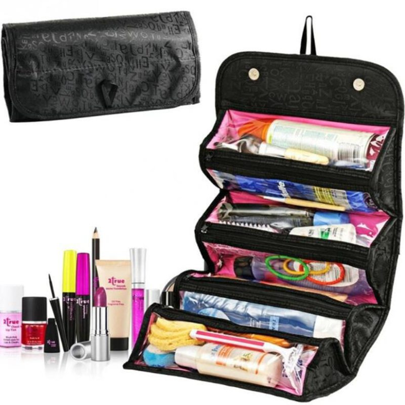 Large Capacity Roll-N-Go Cosmetic Bag For Women Travel Storage Waterproof PVC Make Up Bag Beauty Toiletry Organizer Case Kit image
