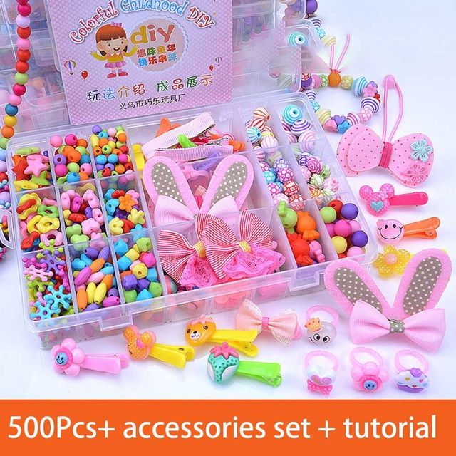 Toys For 3 5 7 Years 2019 New Arrival 2-9 Years Old Educational DIY Children's Beaded Toys Hand-worn Beaded Hairpins Girl Toys