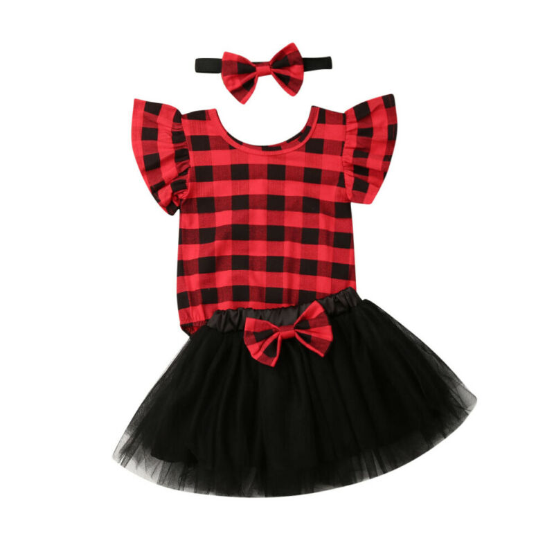 0-18M My1st Christmas Baby Girl Clothes Set Newborn Infant Baby Red Plaid Romper+Tulle Bow Tutu Skirts + Headband Outfit